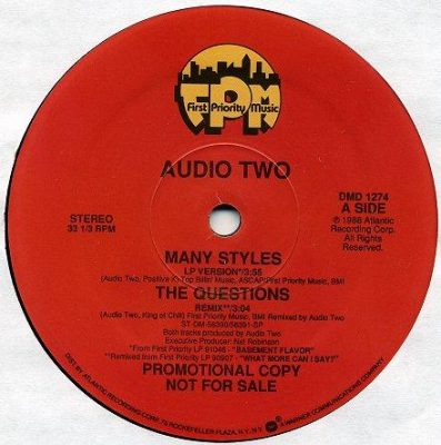 Audio Two ‎– Many Styles / The Questions (1988) (VLS) (VBR)