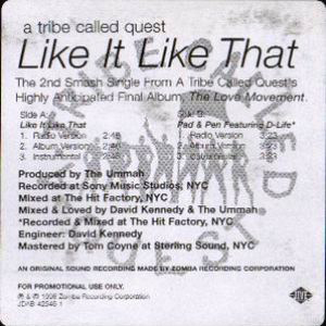 A Tribe Called Quest – Like It Like That / Pad & Pen (Promo VLS) (1998) (192 kbps)