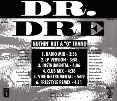 "Dr. Dre – Nuthin But A ""G"" Thang (Promo CDS) (1992) (FLAC + 320 kbps)"