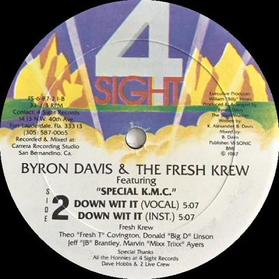 Byron Davis & The Fresh Krew – Now Dance / Down With It (VLS) (1987) (FLAC + 320 kbps)