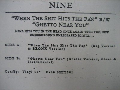 Nine – When The Shit Hits The Fan / Ghetto Near You (VLS) (1996) (VBR)
