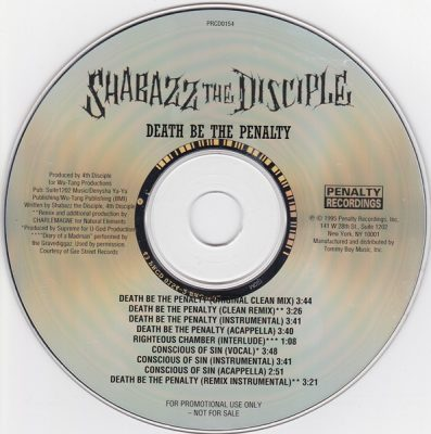 Shabazz The Disciple – Death Be The Penalty (Promo CDS) (1995) (FLAC + 320 kbps)