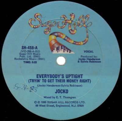 Jocko ‎– Everybody's Uptight (Tryin' To Get Their Money Right) (VLS) (1983) (FLAC + 320 kbps)