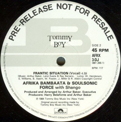 Afrika Bambaataa & Soulsonic Force With Shango – Frantic Situation (VLS) (1984) (FLAC + 320 kbps)