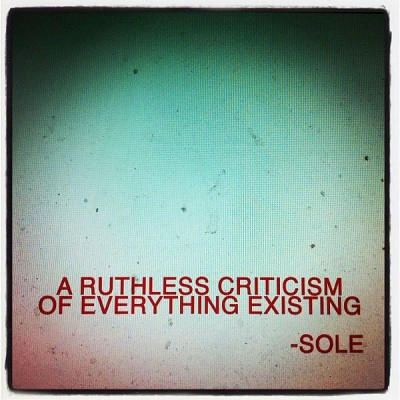 Sole – A Ruthless Criticism Of Everything Existing (2012) (CD) (320 kbps)
