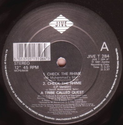 A Tribe Called Quest – Check The Rhime (VLS) (1991) (320 kbps)