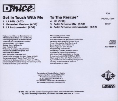 D-Nice – Get In Touch With Me / To Tha Rescue (Promo CDS) (1992) (320 kbps)
