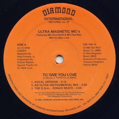 Ultramagnetic MC's - To Give You Love -bw- Make You Shake (1986)