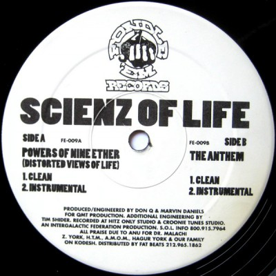Scienz Of Life ‎- Powers Of Nine Ether (Distorted Views Of Life) / The Anthem (VLS) (1996) (FLAC + 320 kbps)
