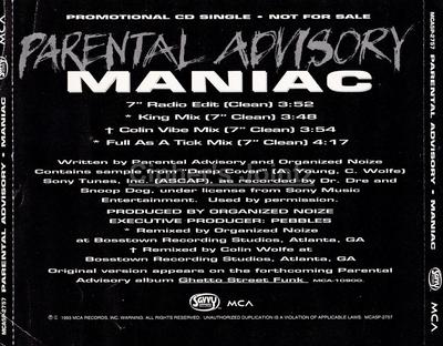 Parental Advisory – Maniac (Promo CDS) (1993) (320 kbps)