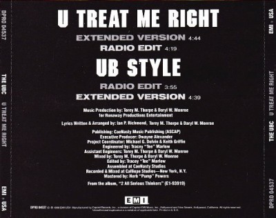 The UBC - U Treat Me Right Back