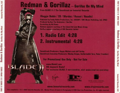 Redman & Gorillaz – Gorillaz On My Mind (Promo CDS) (2002) (FLAC + 320 kbps)