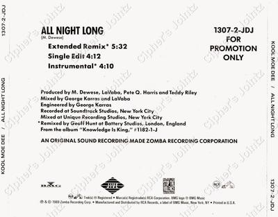 Kool Moe Dee – All Night Long (Promo CDS) (1989) (320 kbps)