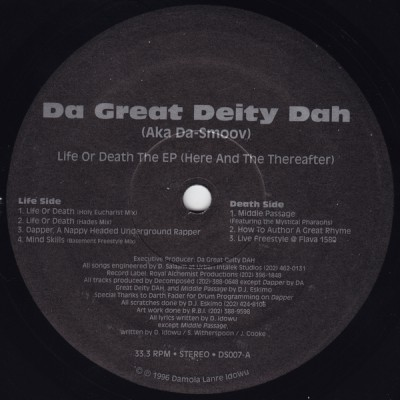 Da Great Deity Dah – Life Or Death The EP (Here And The Thereafter) (Vinyl) (1996) (FLAC + 320 kbps)