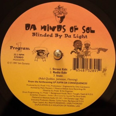 Da Minds Of Sol – Blinded By Da Light / Holocaust Part II (VLS) (1997) (FLAC + 320 kbps)