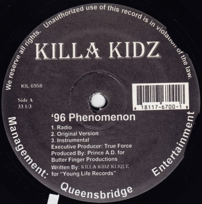 Killa Kidz – '96 Phenomenon / Time To Shine (VLS) (1996) (FLAC + 320 kbps)