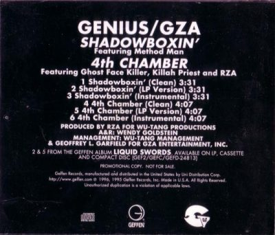 GZA – Shadowboxin' / 4th Chamber (Promo CDS) (1996) (FLAC + 320 kbps)