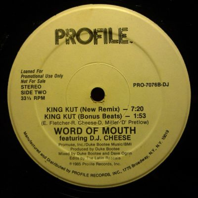 Word Of Mouth Featuring D.J. Cheese – King Kut (VLS) (1985) (FLAC + 320 kbps)