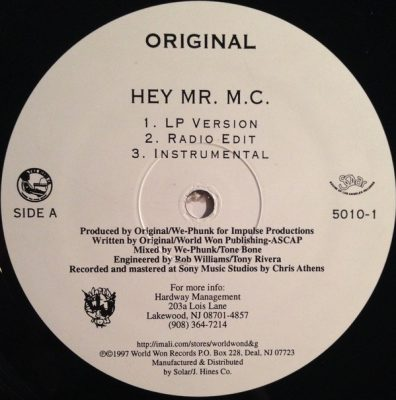 Original – Hey Mr. M.C. (VLS) (1997) (FLAC + 320 kbps)