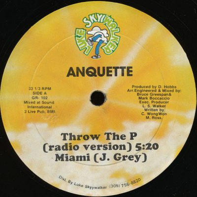 Anquette / J. Grey – Throw The P / Miami (VLS) (1986) (FLAC + 320 kbps)