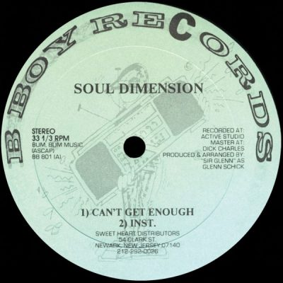 Soul Dimension – Can't Get Enough (VLS) (1987) (FLAC + 320 kbps)