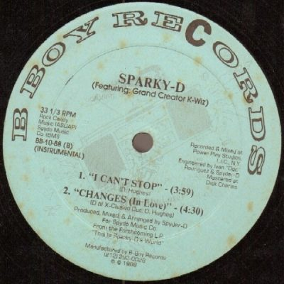 Sparky D – I Can't Stop / Changes (In Love) (VLS) (1988) (FLAC + 320 kbps)