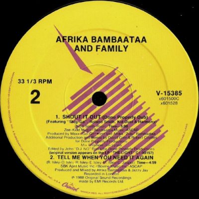 Afrika Bambaataa & Family – Shout It Out (VLS) (1988) (FLAC + 320 kbps)