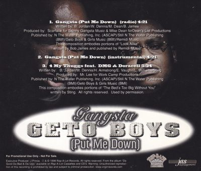 Geto Boys – Gangsta (Put Me Down) (Promo CDS) (1998) (320 kbps)