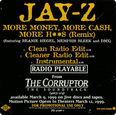 Jay-Z – More Money More Cash More H**S (Remix) (Promo CDS) (1999) (FLAC + 320 kbps)